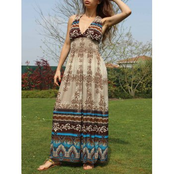 Women's Bohemian Style V-Neck Floral Pattern Crochet Flower Color Block Dress