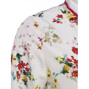 Refreshing Women's Stand Collar Flower Print Long Sleeve Jacket - COLORMIX S