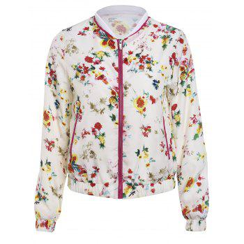 Refreshing Women's Stand Collar Flower Print Long Sleeve Jacket