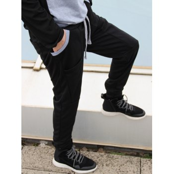 Trendy Lace-Up Slimming Color Block Splicing Beam Feet Polyester Sweatpants For Men - BLACK M