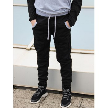 Trendy Lace-Up Slimming Color Block Splicing Beam Feet Polyester Sweatpants For Men