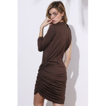 Stylish Stand-Up Collar 3/4 Sleeve Ruched Women's Plus Size Dress - ARMY GREEN XL
