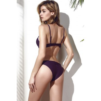 Stylish Spaghetti Strap Solid Color Hollow Out Women's Bikini Set - DEEP PURPLE M