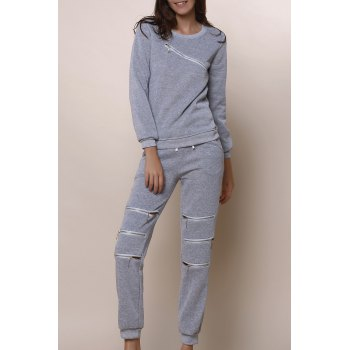 Casual Long Sleeve Round Neck Sweatshirt + Elastic Waist Hollow Out Pants Women's Twinset