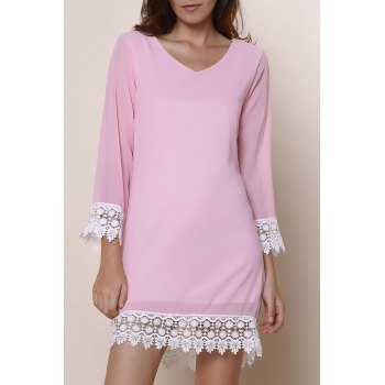 Stylish Long Sleeve V-Neck Laciness Chiffon Women's Dress