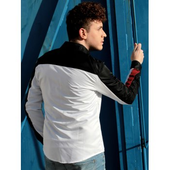 Trendy Three Color Splicing Shirt Collar Long Sleeve Fitted Men's Polyester Shirt - M M