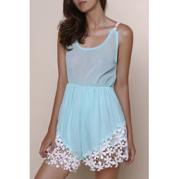 Fresh Style Hollow Out Lace Spliced Hem Low-Cut Elastic Waist Romper For Women
