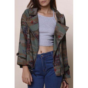 Stylish Turn-Down Collar Long Sleeve Floral Camouflage Pattern Women's Jacket