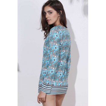 Ethnic Round Neck Long Sleeve Bodycon Printed Women's Dress - COLORMIX S