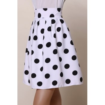 Vintage High-Waisted Ruffled Polka Dot Women's Skirt - S S