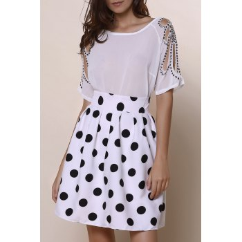 Vintage High-Waisted Ruffled Polka Dot Women's Skirt - WHITE AND BLACK M