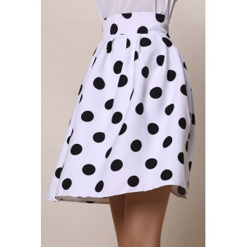 Vintage High-Waisted Ruffled Polka Dot Women's Skirt - M M