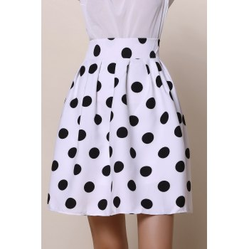 Vintage High-Waisted Ruffled Polka Dot Women's Skirt - XL XL