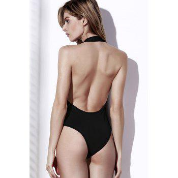 Sexy Halter Solid Color Low Cut One-Piece Women's Swimwear - L L