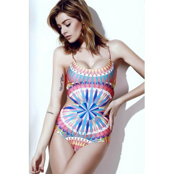 Sexy Women's Scoop Neck Spaghetti Strap Colored Printed One-Piece Swimsuit - S S