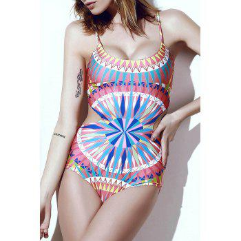 Sexy Women's Scoop Neck Spaghetti Strap Colored Printed One-Piece Swimsuit - PINK M