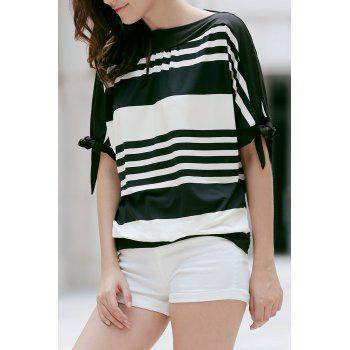Casual Black and White Striped Short Sleeve Women's T-Shirt