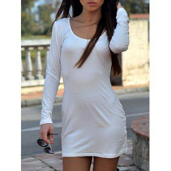 Fashion Alluring White U-Neck Long Sleeve Dress For Women