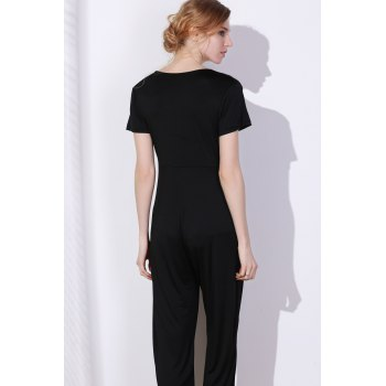Charming Hollow Out Lace-Up V-Neck Solid Color Wide-Leg Jumpsuit For Women - BLACK BLACK