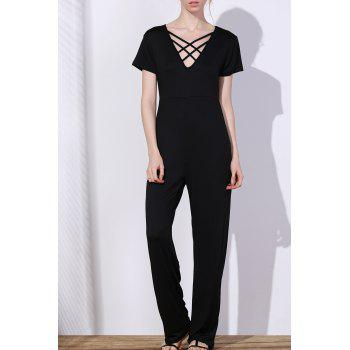 Charming Hollow Out Lace-Up V-Neck Solid Color Wide-Leg Jumpsuit For Women