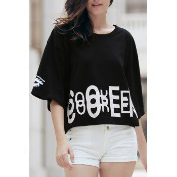 Fashionable Women's 1/2 Sleeve Pattern Print Loose-Fitting T-Shirt