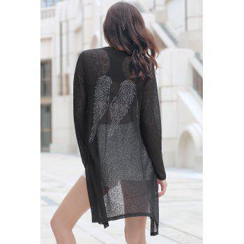 Plus Size Rhinestoned Longline Cardigan - BLACK XL