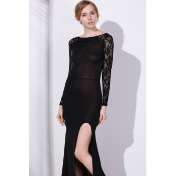 Elegant Long Sleeve Slash Neck High Slit Lace Splicing Women's Black Dress - BLACK S