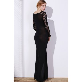 Elegant Long Sleeve Slash Neck High Slit Lace Splicing Women's 's Black Dress - Noir L
