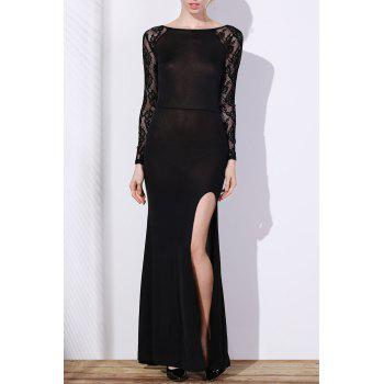 Elegant Long Sleeve Slash Neck High Slit Lace Splicing Women's Black Dress