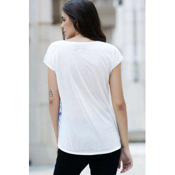 Stylish Round Neck Short Sleeve Printed Women's High Low T-Shirt - COLORMIX ONE SIZE(FIT SIZE XS TO M)