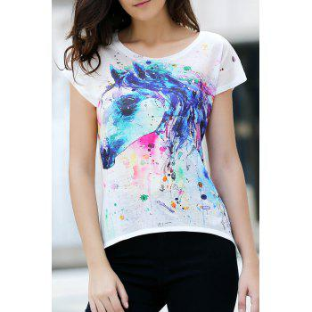 Stylish Round Neck Short Sleeve Printed Women's High Low T-Shirt