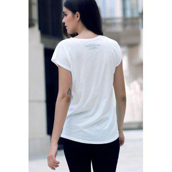 Stylish Round Neck Short Sleeve Letter Print Loose Women's T-Shirt - WHITE ONE SIZE(FIT SIZE XS TO M)