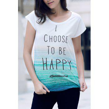 Stylish Round Neck Short Sleeve Letter Print Loose Women's T-Shirt