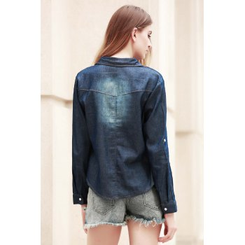 Fashionable Long Sleeve Shirt Collar Pocket Design Denim Women's Shirt - DEEP BLUE DEEP BLUE