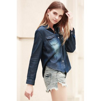 Fashionable Long Sleeve Shirt Collar Pocket Design Denim Women's Shirt - XL XL