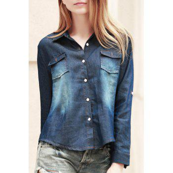 Fashionable Long Sleeve Shirt Collar Pocket Design Denim Women's Shirt