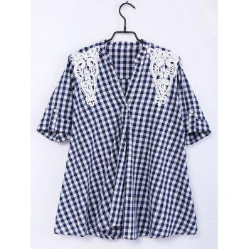Sweet V-Neck Half Sleeves Plaid Print Lace Women's Blouse