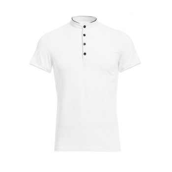 Vogue Stand Collar Multi-Button Color Spliced Short Sleeves Men's Polo T-Shirt