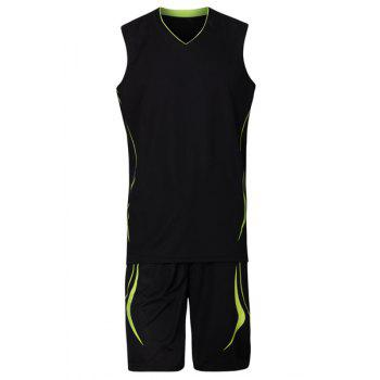 V-Neck Breathable Men's Basketball Training Jersey Set (Top+Shorts)