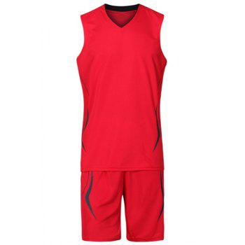 Buy V-Neck Breathable Men's Basketball Training Jersey Set (Top+Shorts) RED