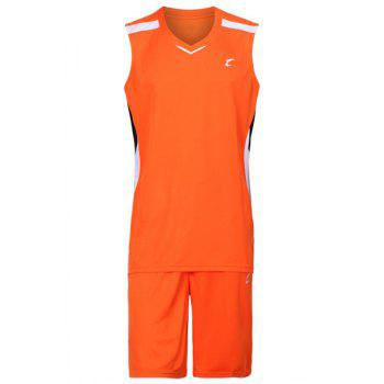 Buy V-Neck Quick Dry Men's Basketball Jersey Set (Top+Shorts) ORANGE