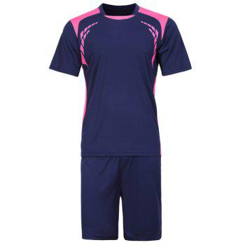 Men 's  Splicing Training Jersey Set (T-Shirt + Shorts) - Bleu Saphir 3XL