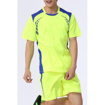 Buy Men's Splicing Training Jersey Set (T-Shirt+Shorts) FLUORESCENT YELLOW