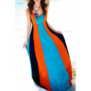 Bohemian Spaghetti Strap Color Block Dress