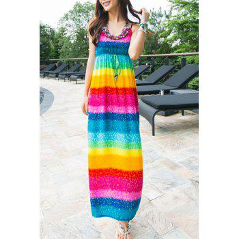 Bohemian Spaghetti Strap Colorful Striped Dress