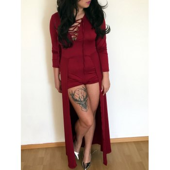 Plunging Neck Criss Cross Long Sleeve Dress