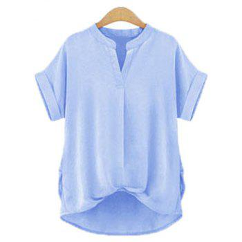Chic Plus Size Stand Collar Short Sleeve Asymmetrical Blouse For Women