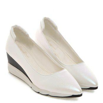 Casual PU Leather and Pointed Toe Design Women's Wedge Shoes - WHITE WHITE