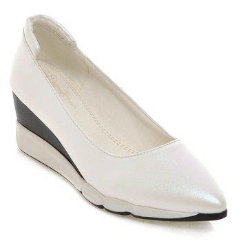 Casual PU Leather and Pointed Toe Design Women's Wedge Shoes - WHITE 39