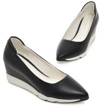 Casual cuir PU et pointu design Femmes  's Shoes Wedge - Noir 37